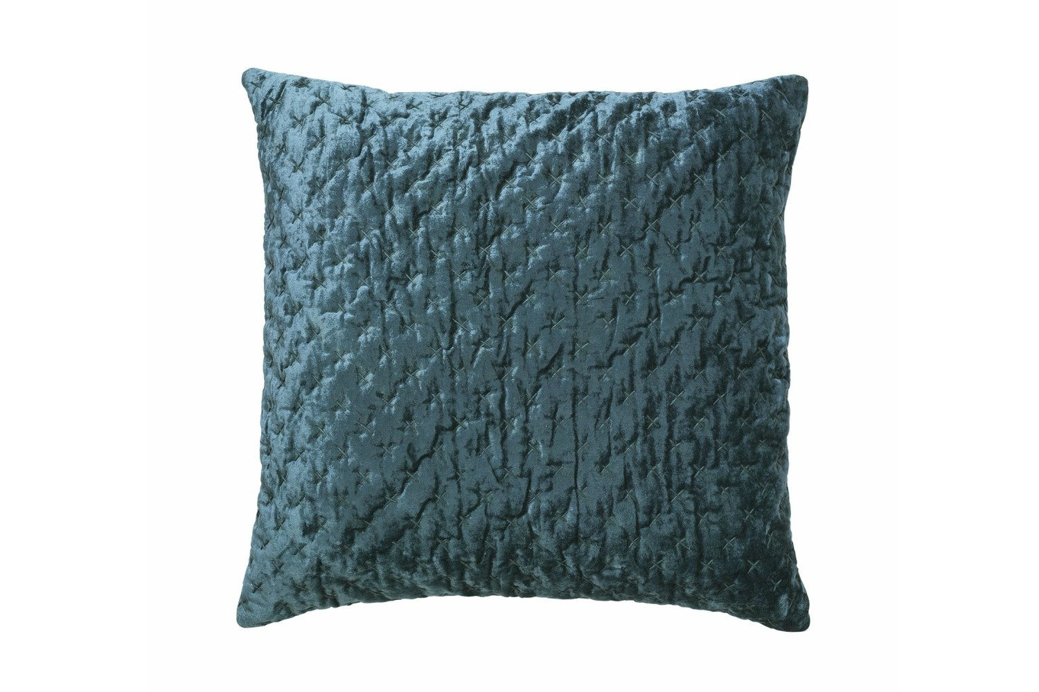 Velvet Embroidered Luxe Cushion | Petrol