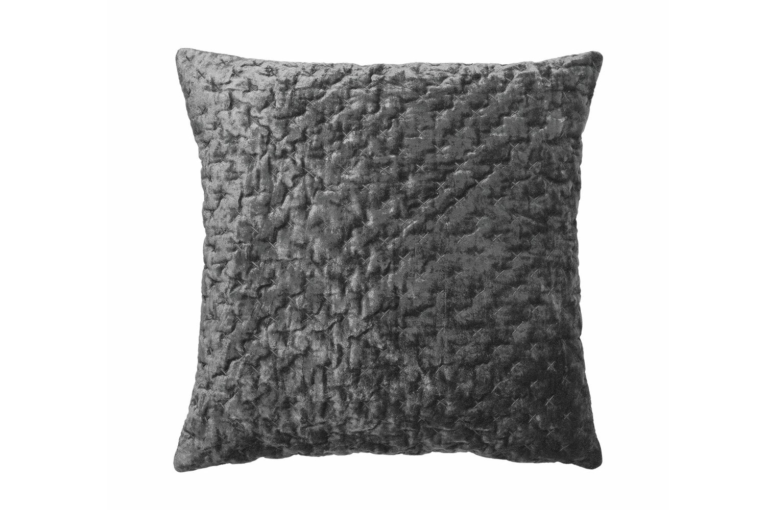 Velvet Embroidered Luxe Cushion | Steel