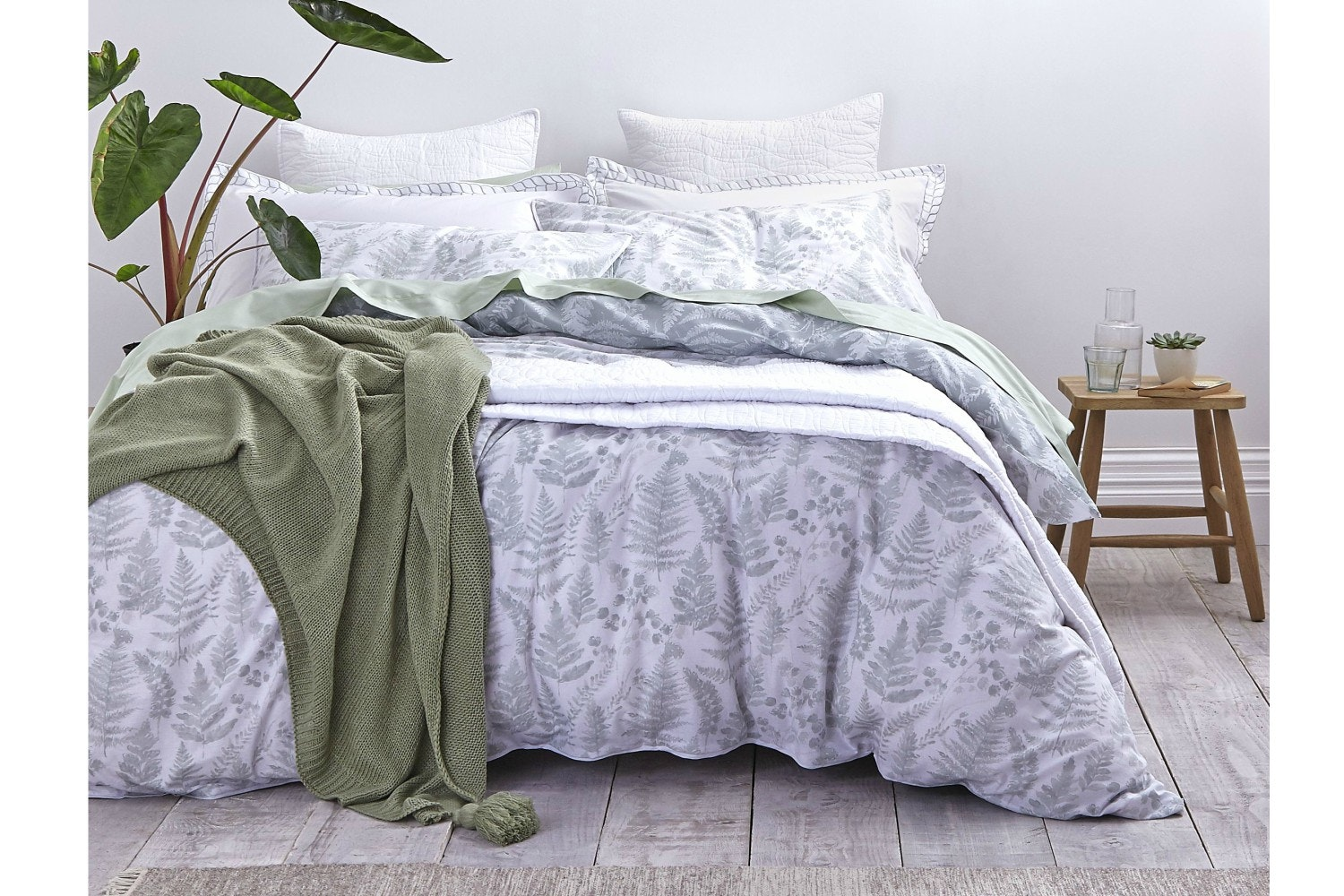 Green Leaf Cotton Print Single Duvet Cover Set