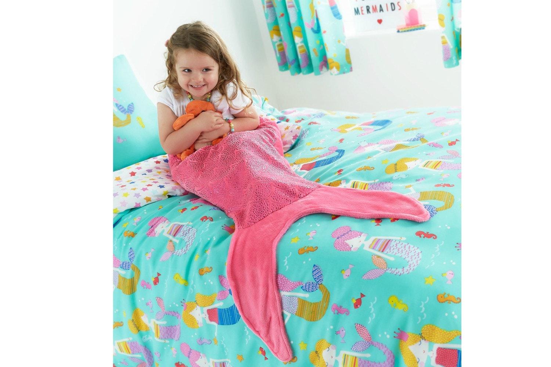 Pink Mermaid Tail Blanket