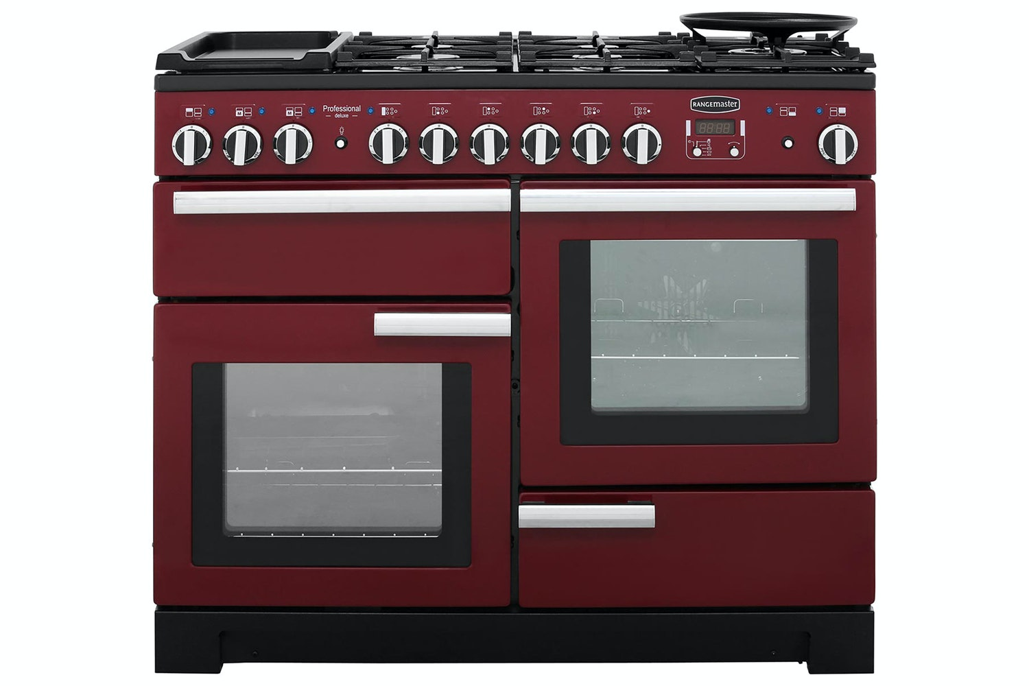 Rangemaster Professional Deluxe 110cm Dual Fuel Range Cooker | PDL110DFFCY/C | Cranberry