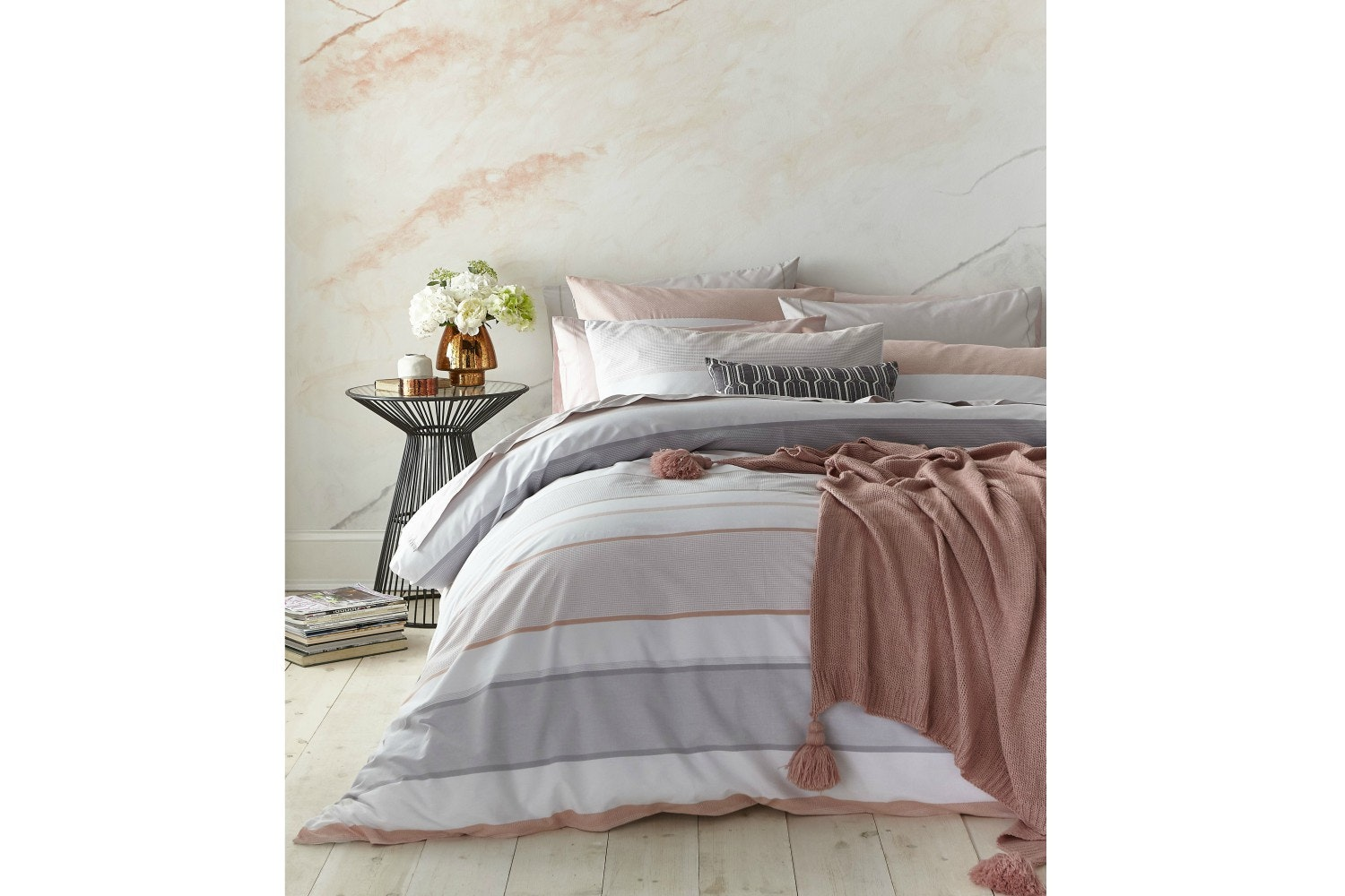Blush Cotton Pink/Grey Stripe Super King Duvet Cover Set