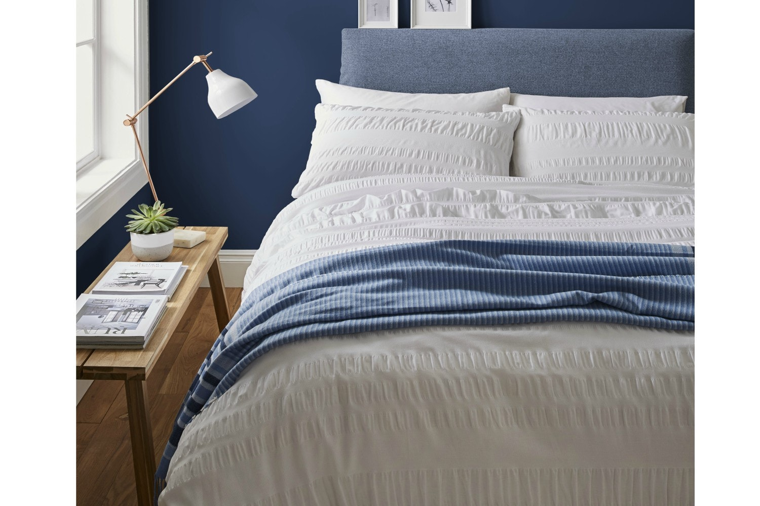 Seersucker White Single Duvet Set