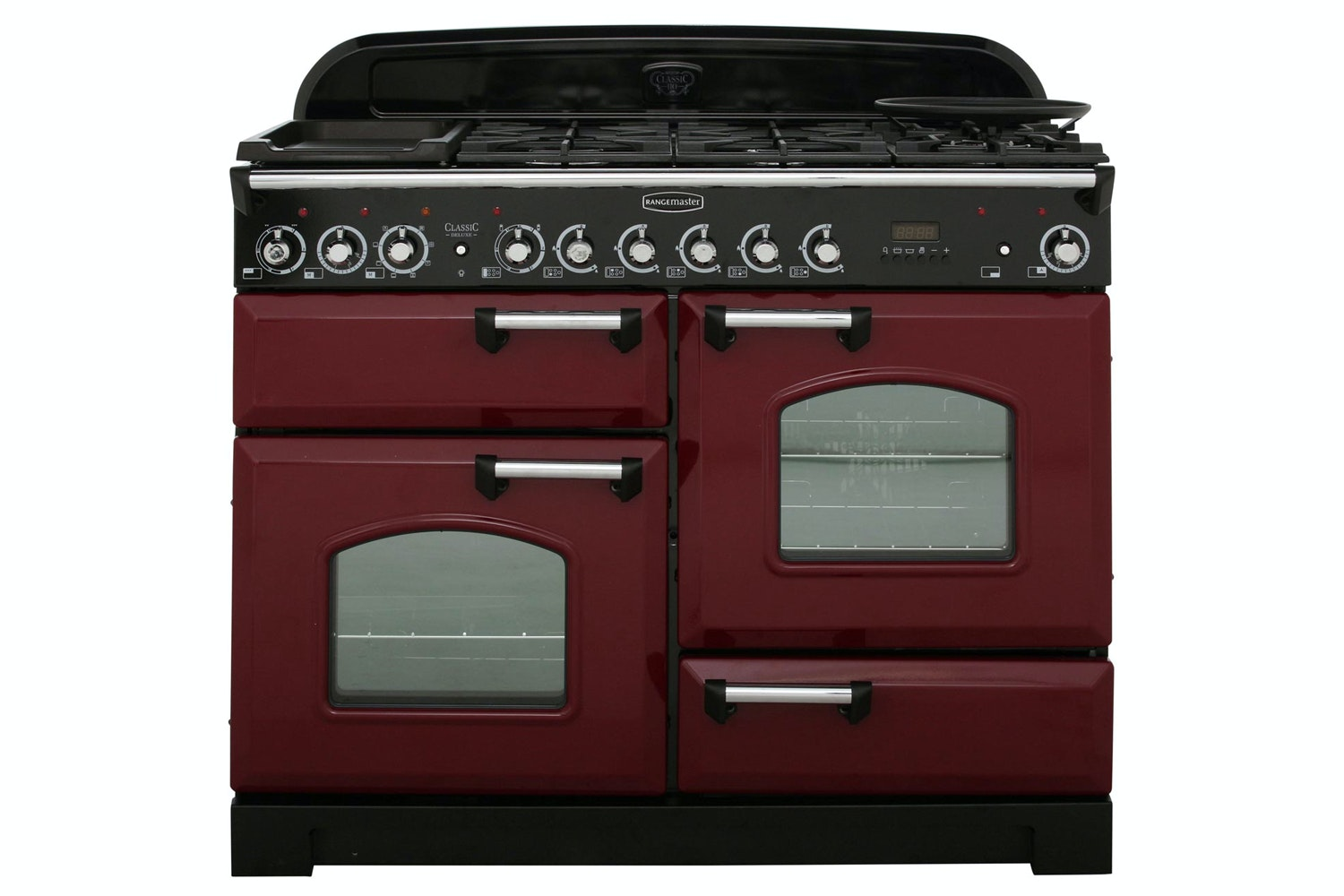 Rangemaster Classic Deluxe 110cm Dual Fuel Range Cooker | CDL110DFFCY/C | Cranberry
