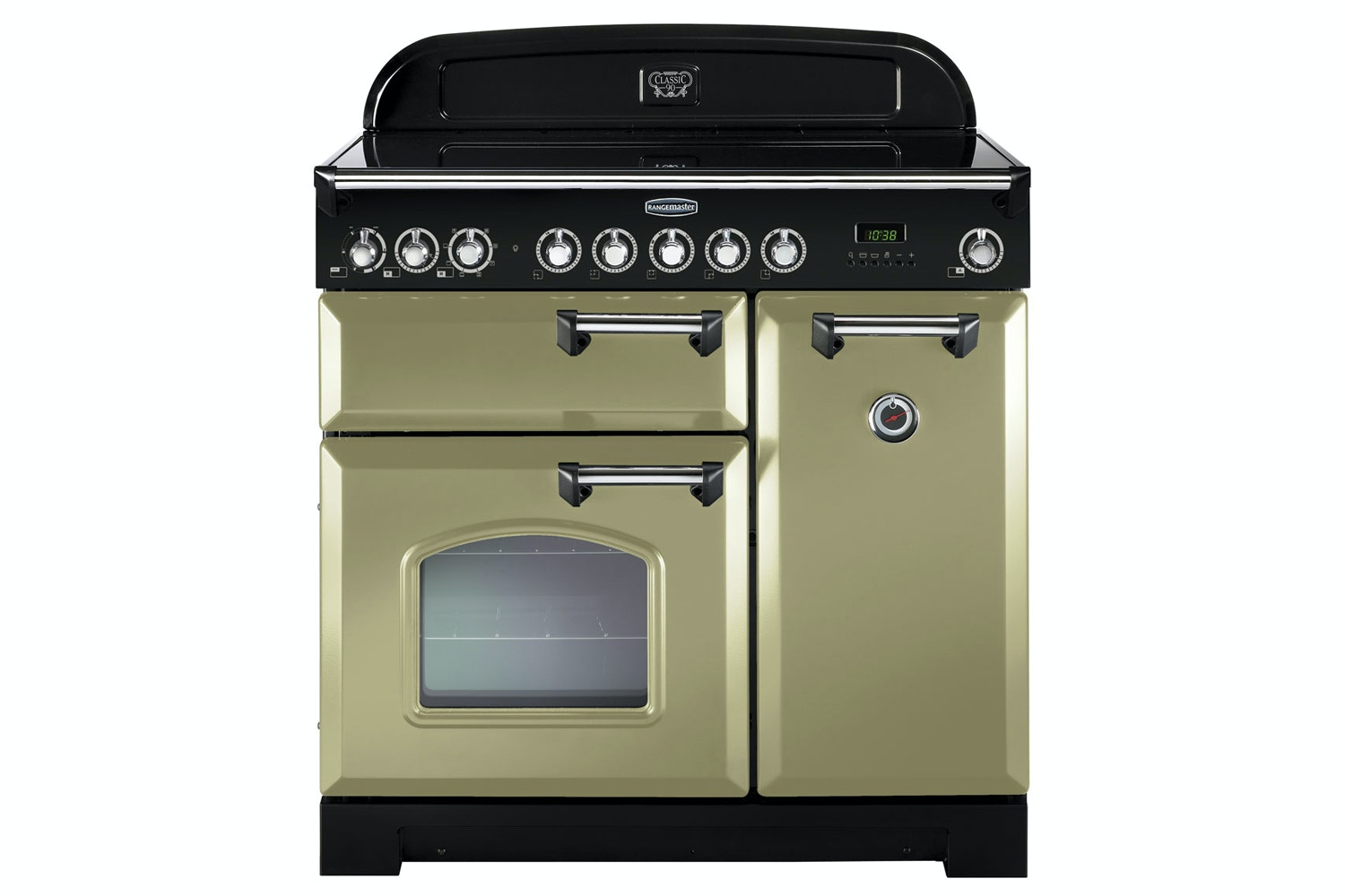 Rangemaster Classic Deluxe 90cm Electric Range Cooker | CDL90ECOG/C | Olive Green