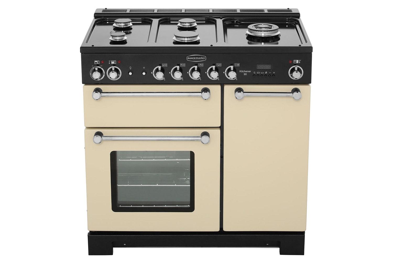 Rangemaster Kitchener 90cm Dual Fuel Range Cooker | KCH90DFFCR/C | Cream