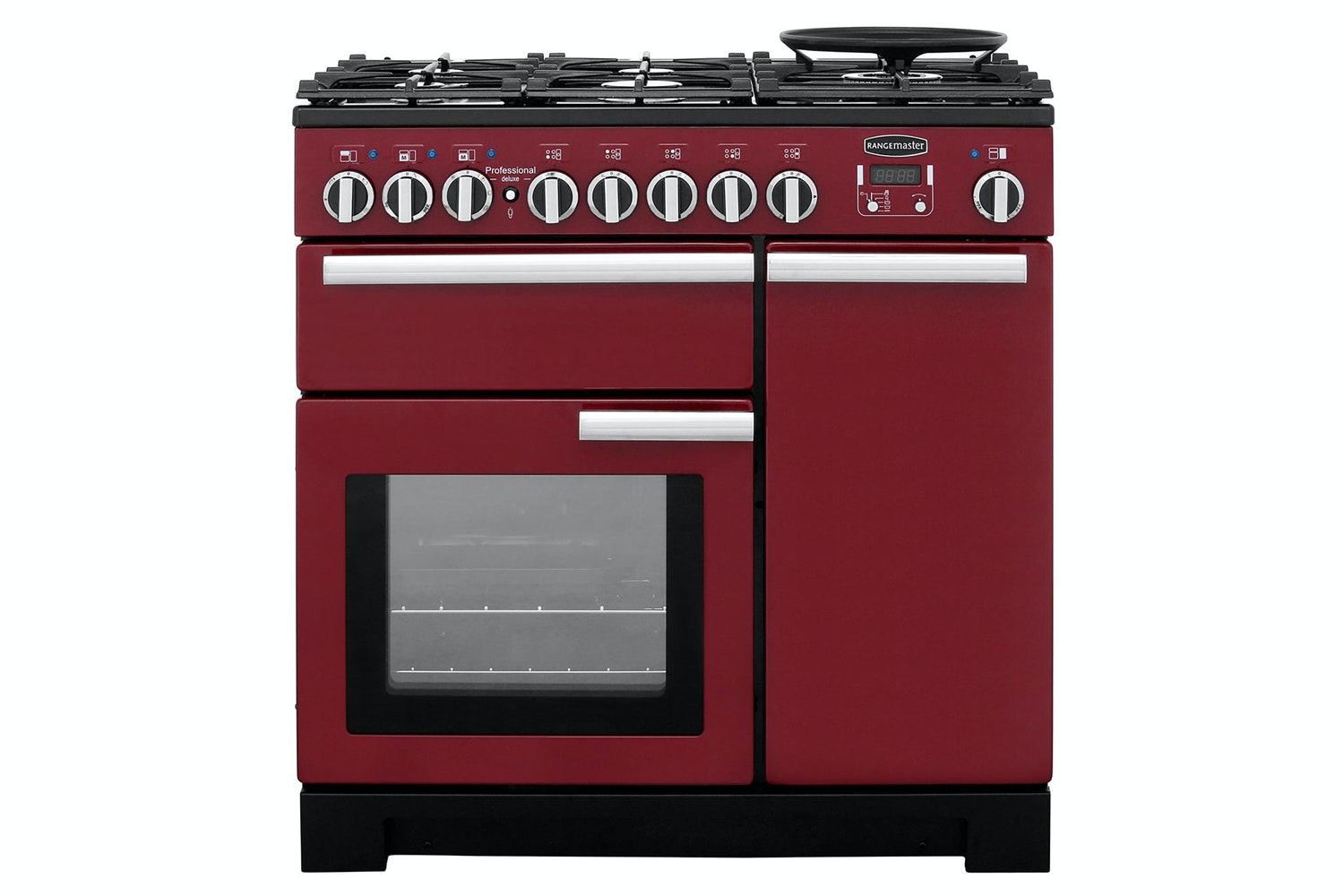 Rangemaster Professional Deluxe 90cm Dual Fuel Range Cooker | PDL90DFFCY/C | Cranberry