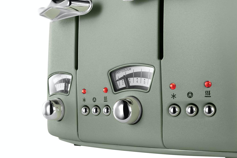 Delonghi Argento Flora 4 Slice Toaster   CT04GR   Green