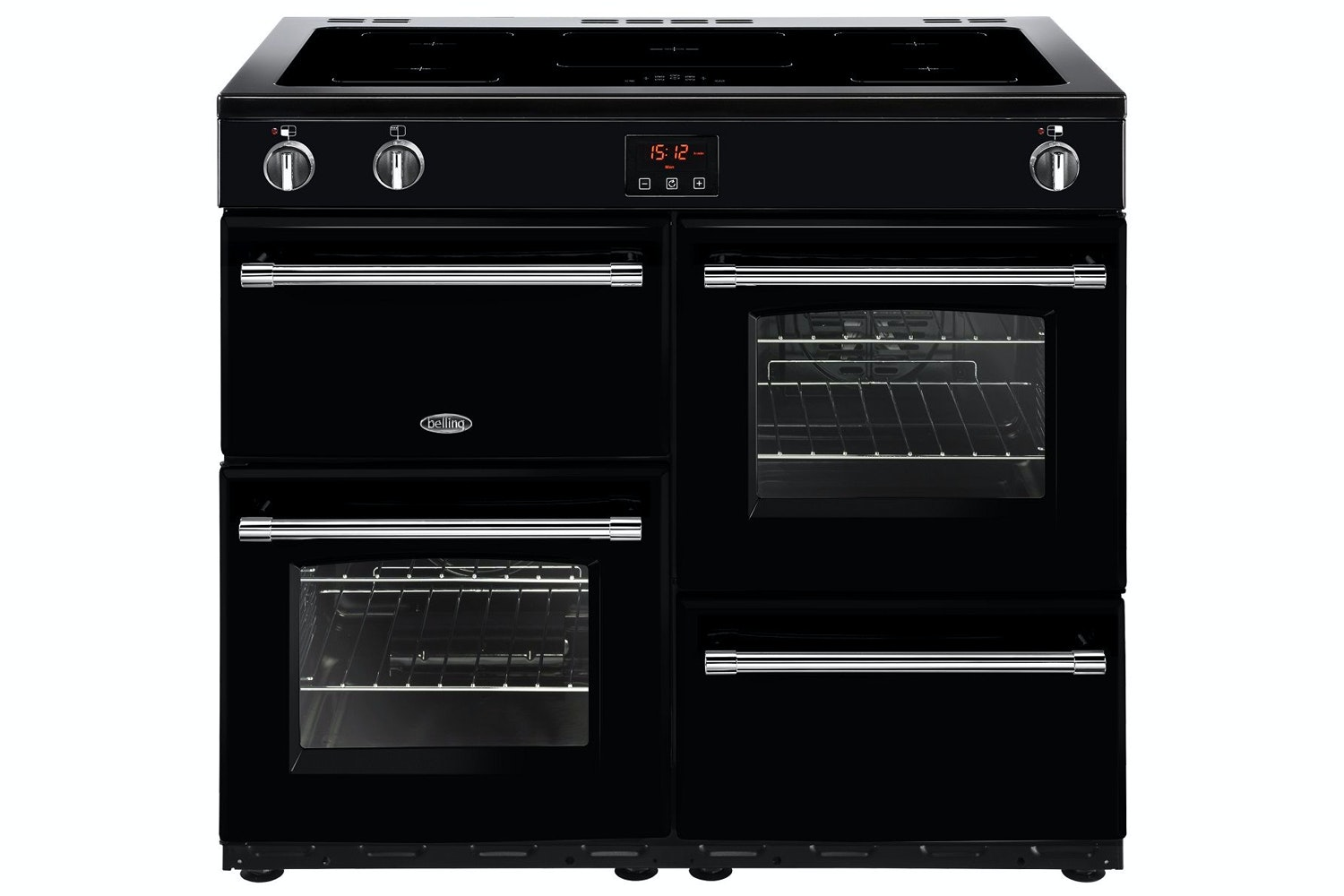Belling Farmhouse 100cm Induction Range Cooker | FH100EIBLK | Black