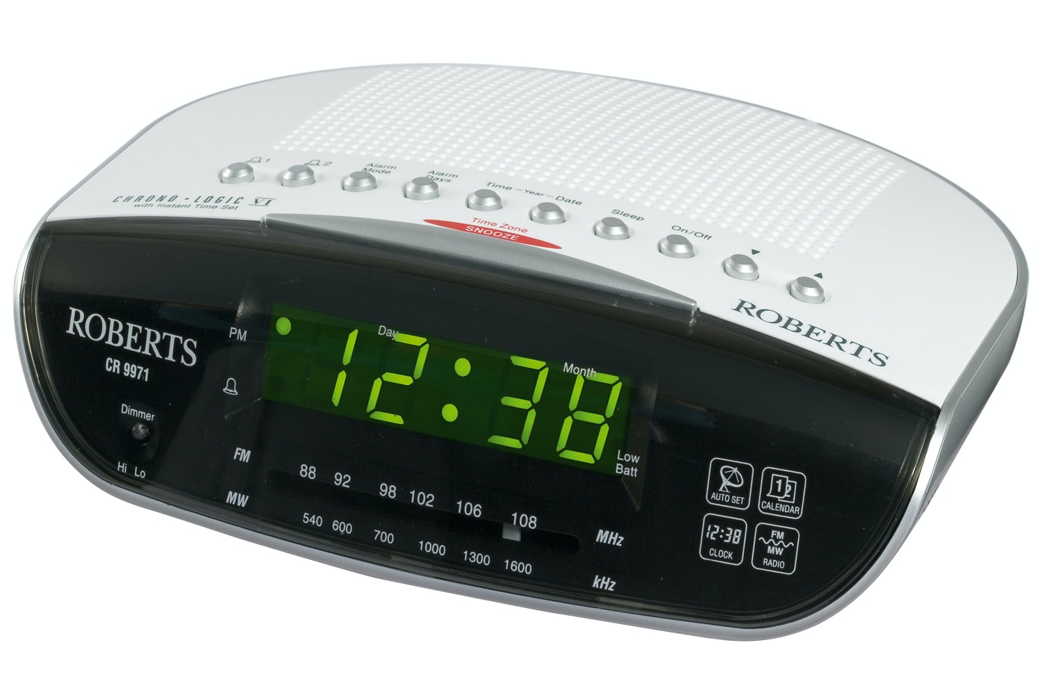 Roberts CR9971 Chronologic VI Analogue Clock Radio | White