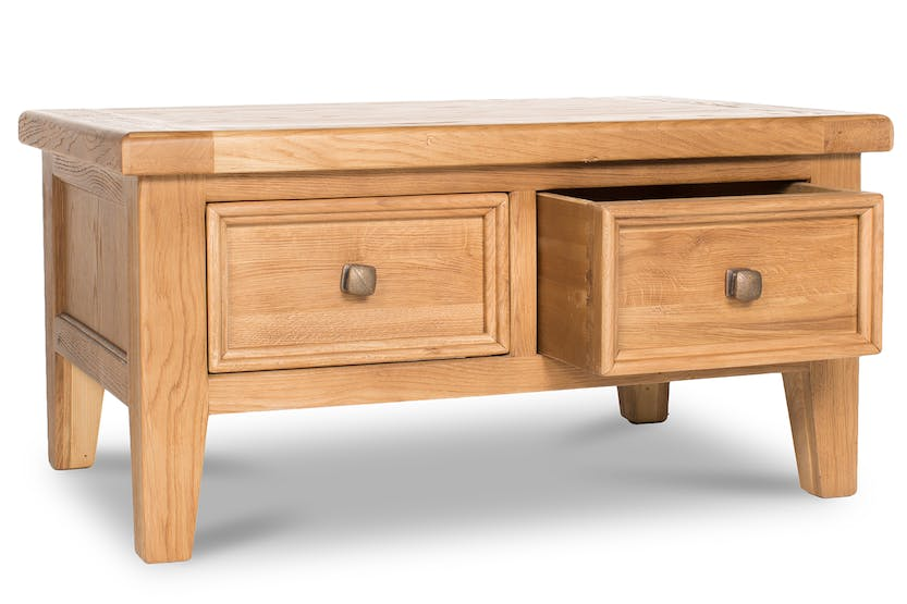 Tisbury Coffee Table with Drawers | Oak