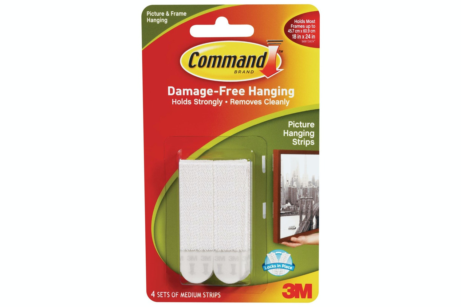 3M Command 4 Sets Medium Picture Hanging Strips | White