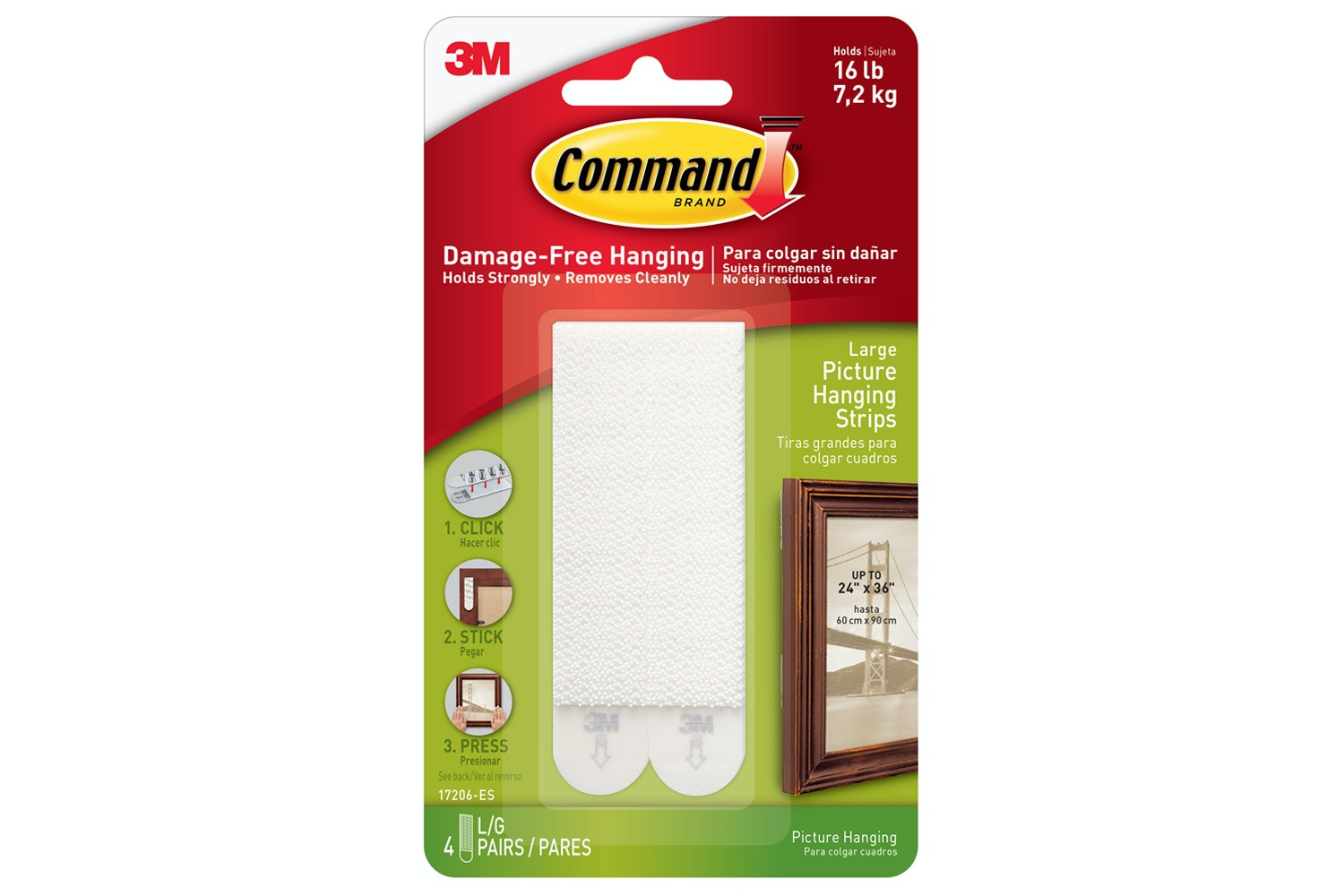 3M Command 4 Sets Large Picture Hanging Strips | White