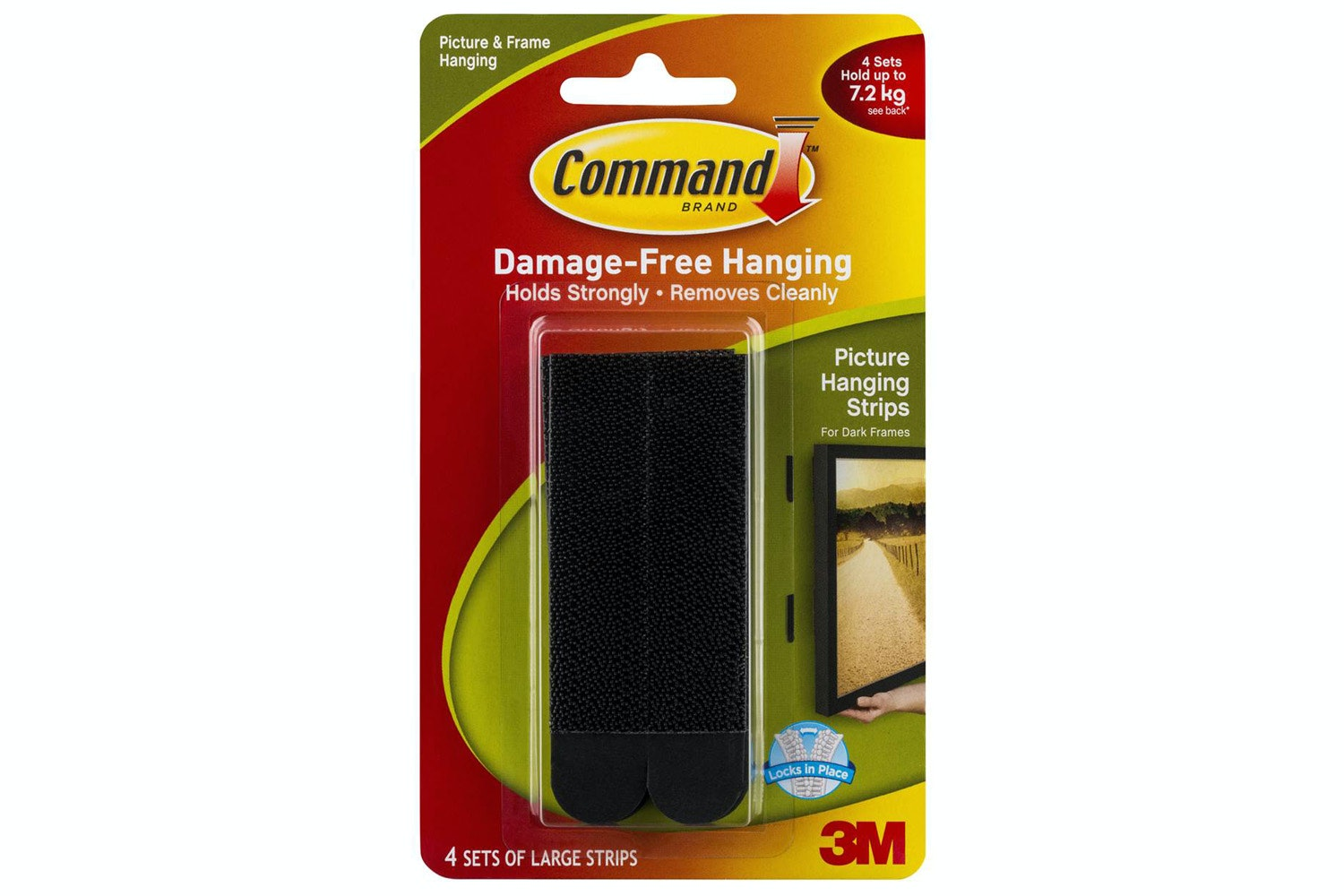 3M Command 4 Sets Large Picture Hanging Strips | Black