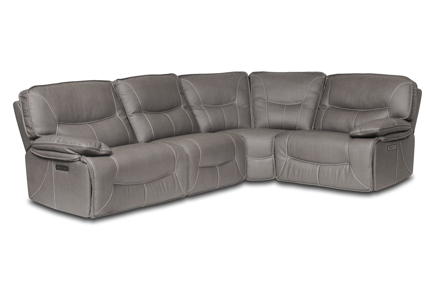 small grey leather sofa recliner