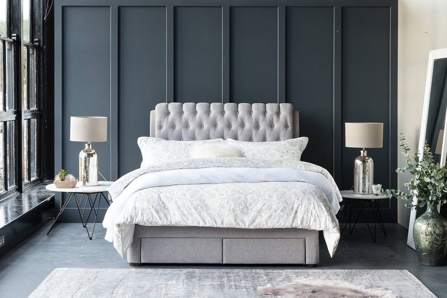 Duval Ottoman Bed with Regency Headboard | 4Ft6 | Grey