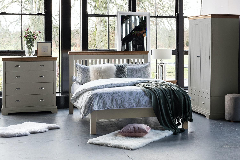 Ascott King Bed Frame | 5ft | Pebble Stone