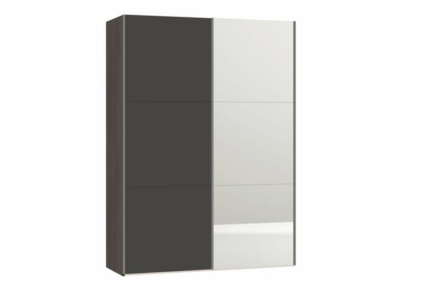 zermatt wardrobe 15m grey matt mirror - Small Wardrobe