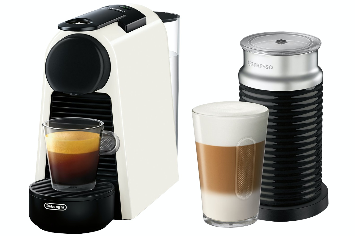 Magimix Nespresso Essenza Mini and Aeroccino 3 Coffee Machine | 11372 | Pure White