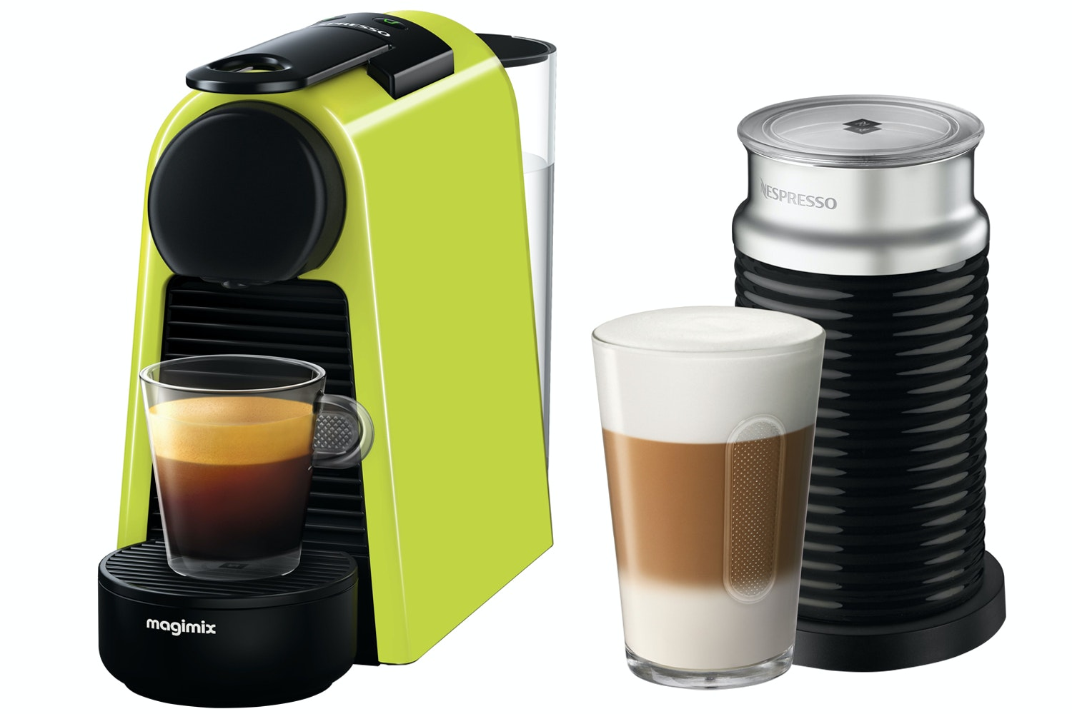 Magimix Nespresso Essenza Mini and Aeroccino 3 Coffee Machine | 11374 | Lime Green