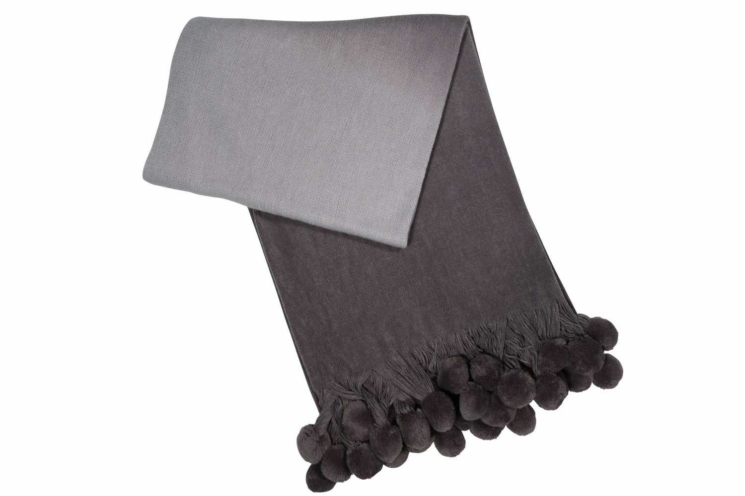Pom Pom Ombre Throw Grey