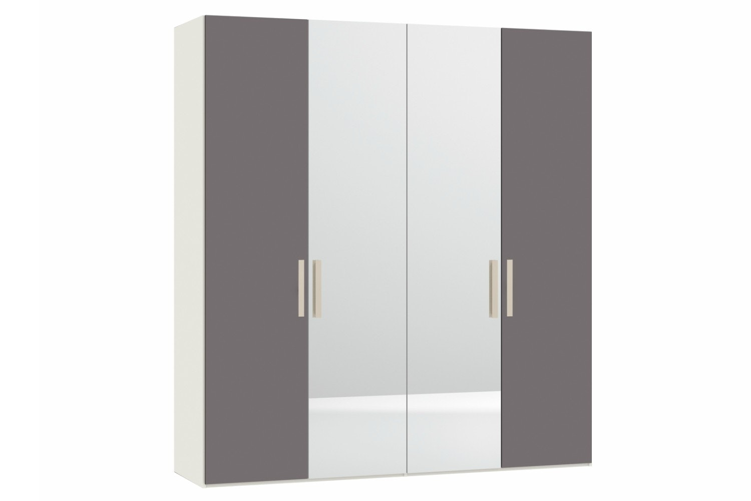 Sydney Wardrobe 4 Door | Grey Glass & Mirror