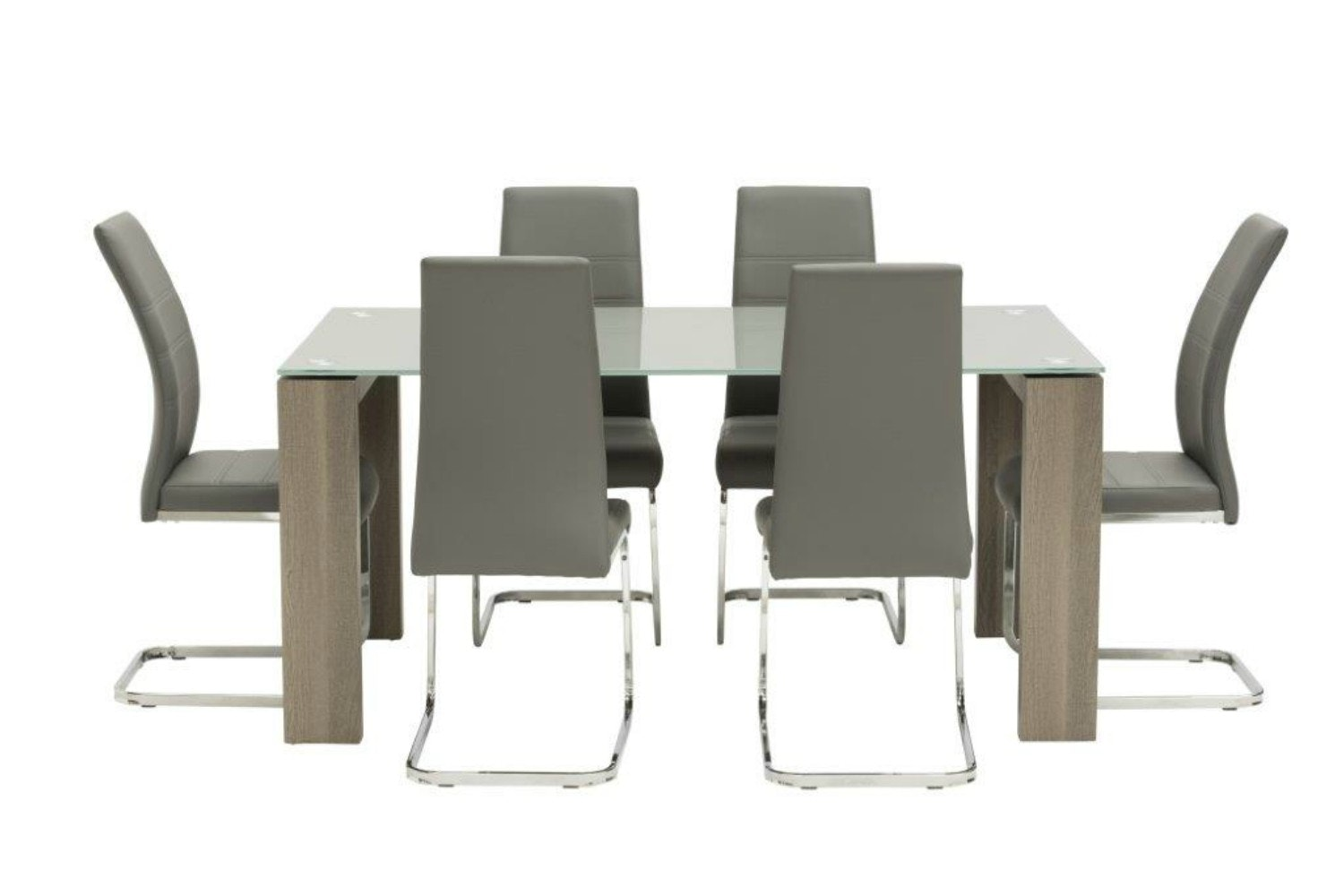 Ryder 7 Piece Set 1.6 Clear Table & 6 Dawson Chairs | Grey