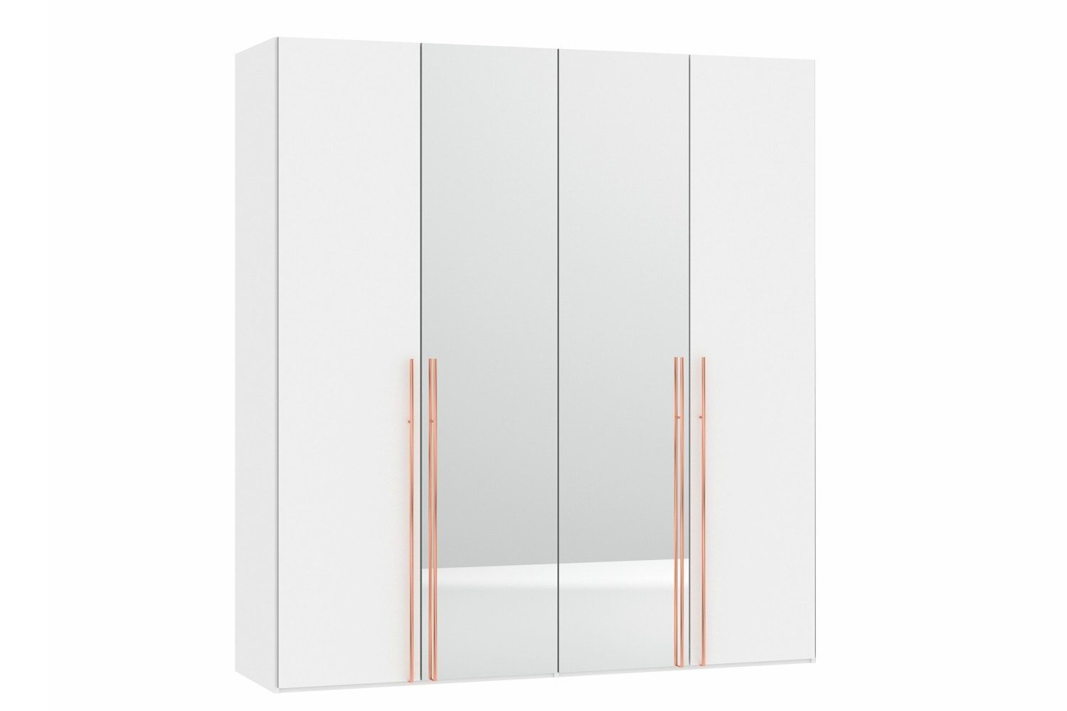 Sydney Wardrobe 4 Folding Doors | Premium White & Mirror