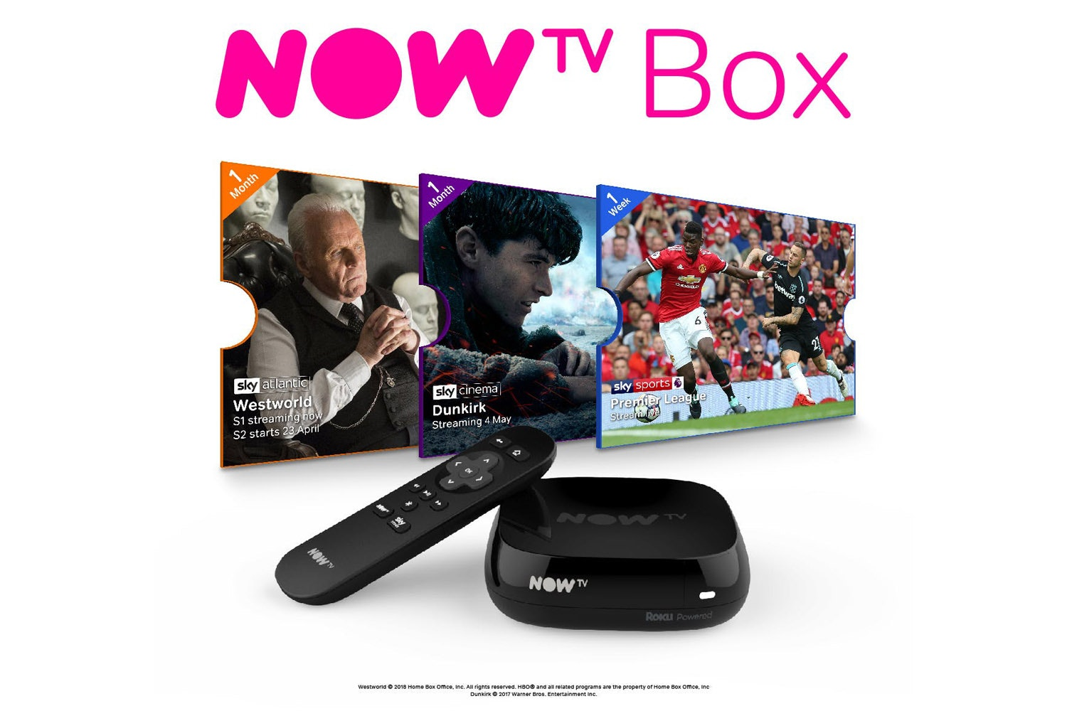 NOW TV Box With 1 Month Entertainment, Sky Cinema and Sky Sports Passes