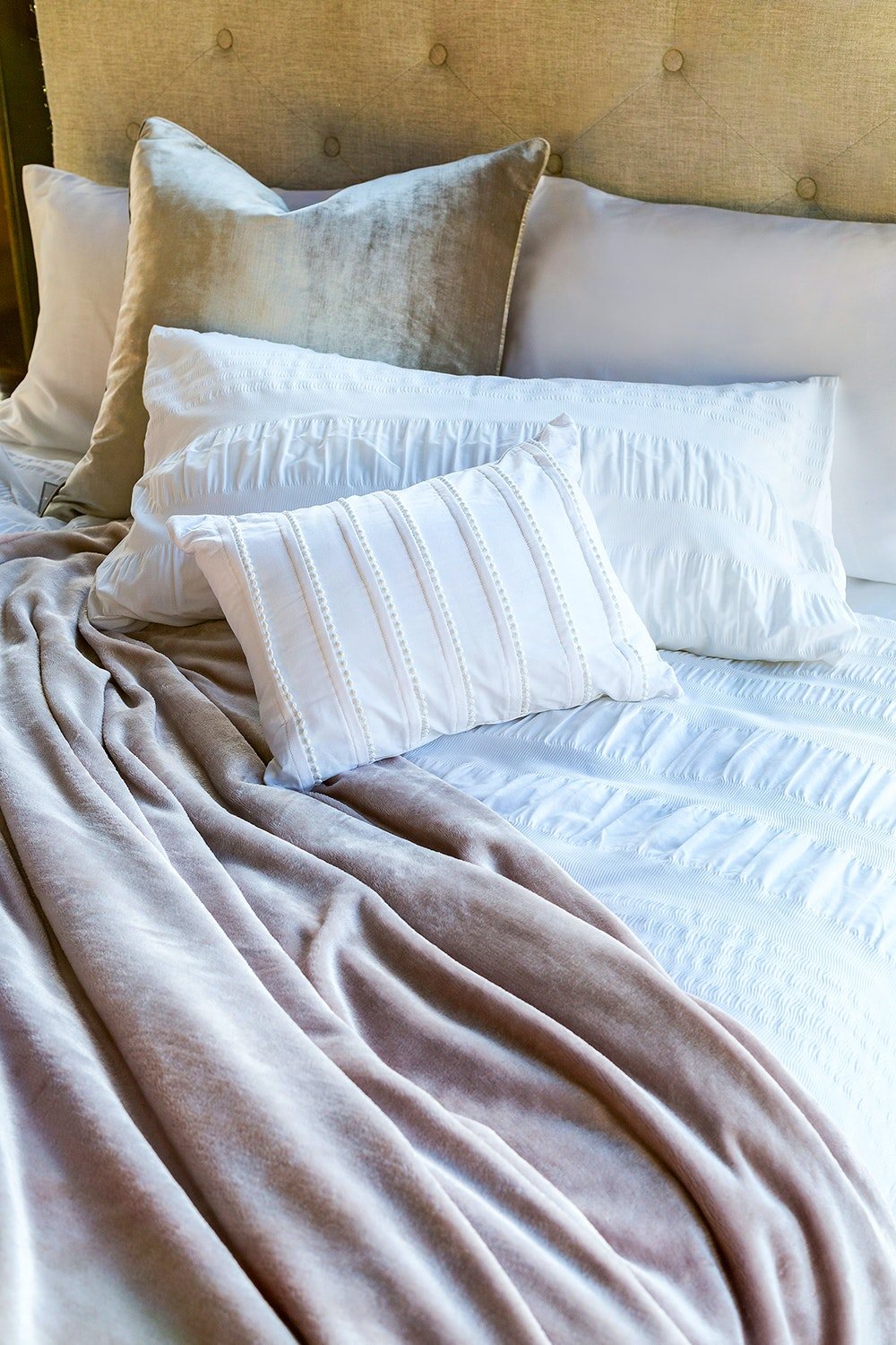 Seersucker White Super King Duvet Set