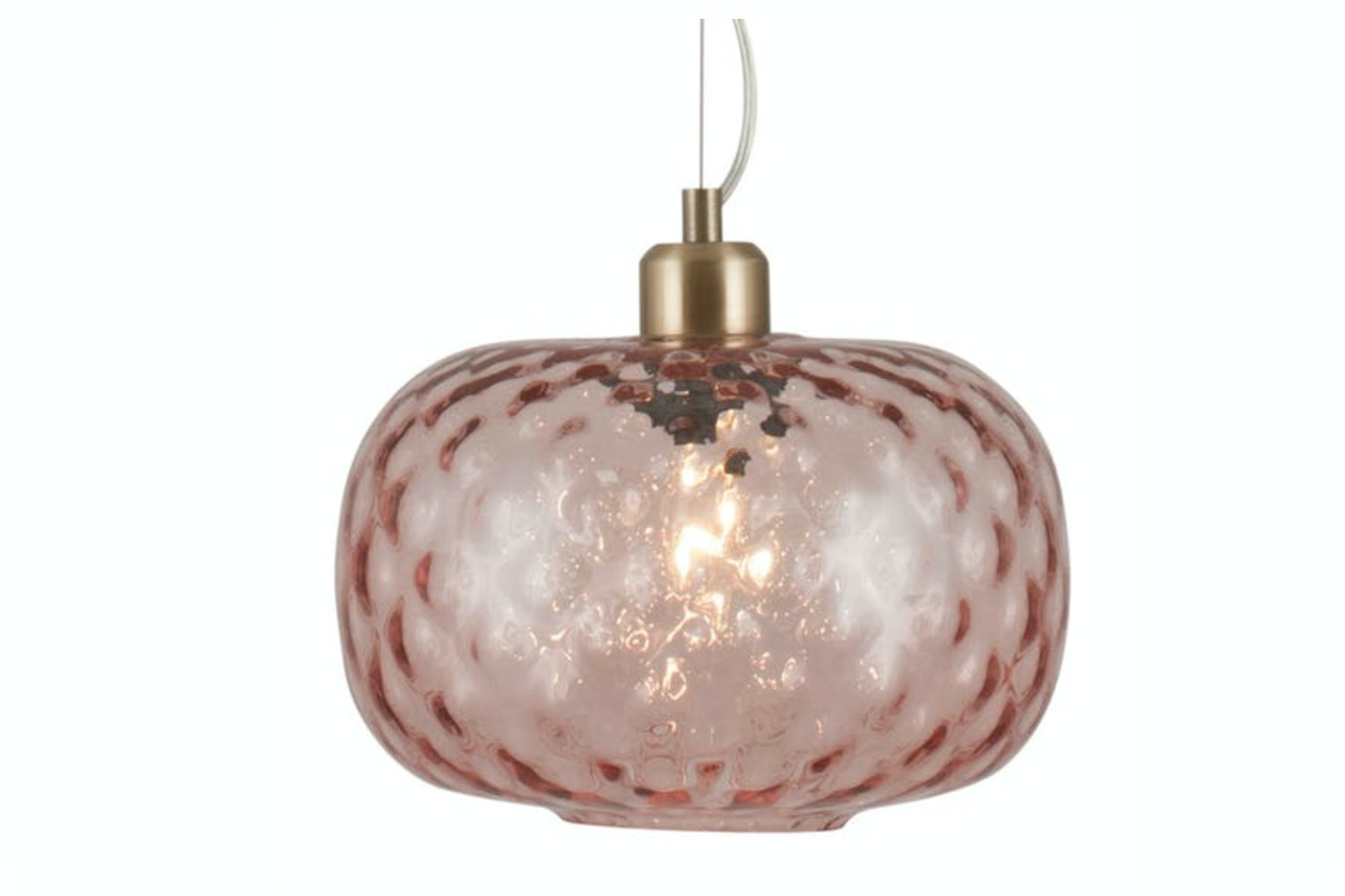 Rose Textured Glass Oval Pendant Light