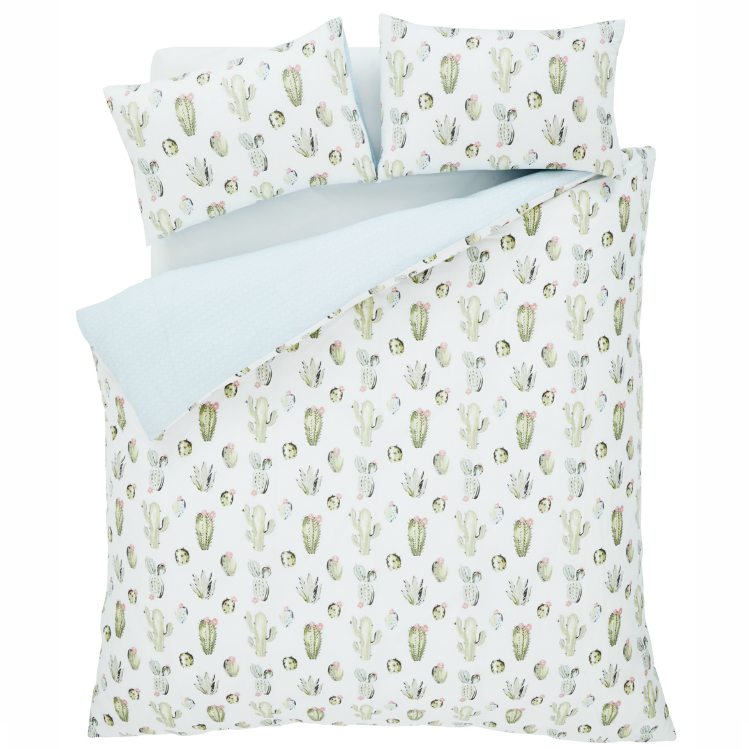 Green Cactus King Duvet Set