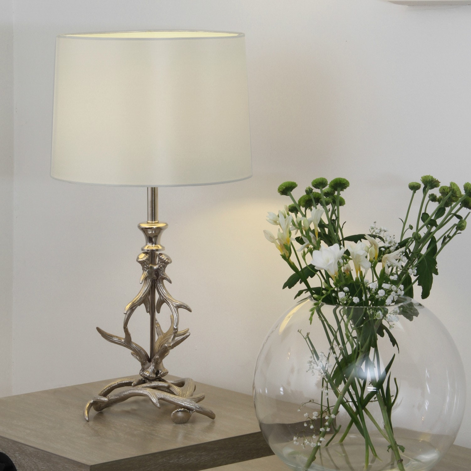 Nickel Antler Table Lamp & Ivory Shade