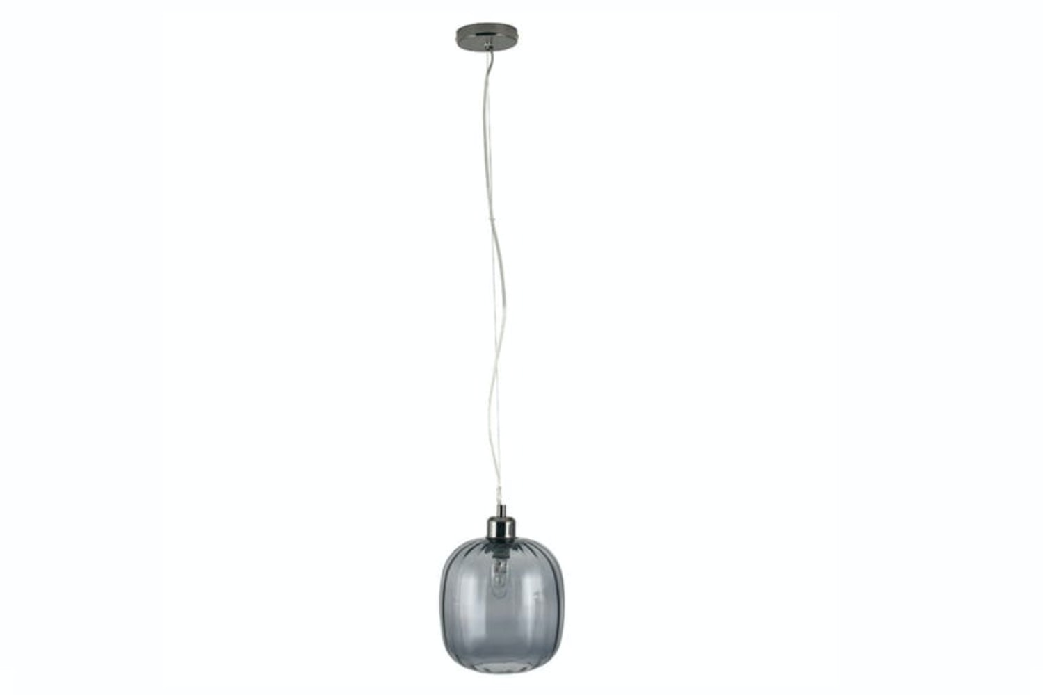 Textured Short Oval Glass Pendant Light | Grey