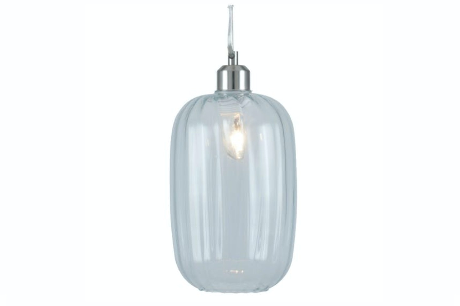 Textured Tall Oval Glass Pendant Light | Clear