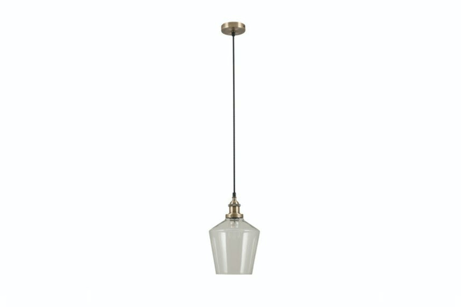 Clear Glass & Brass Light Pendant