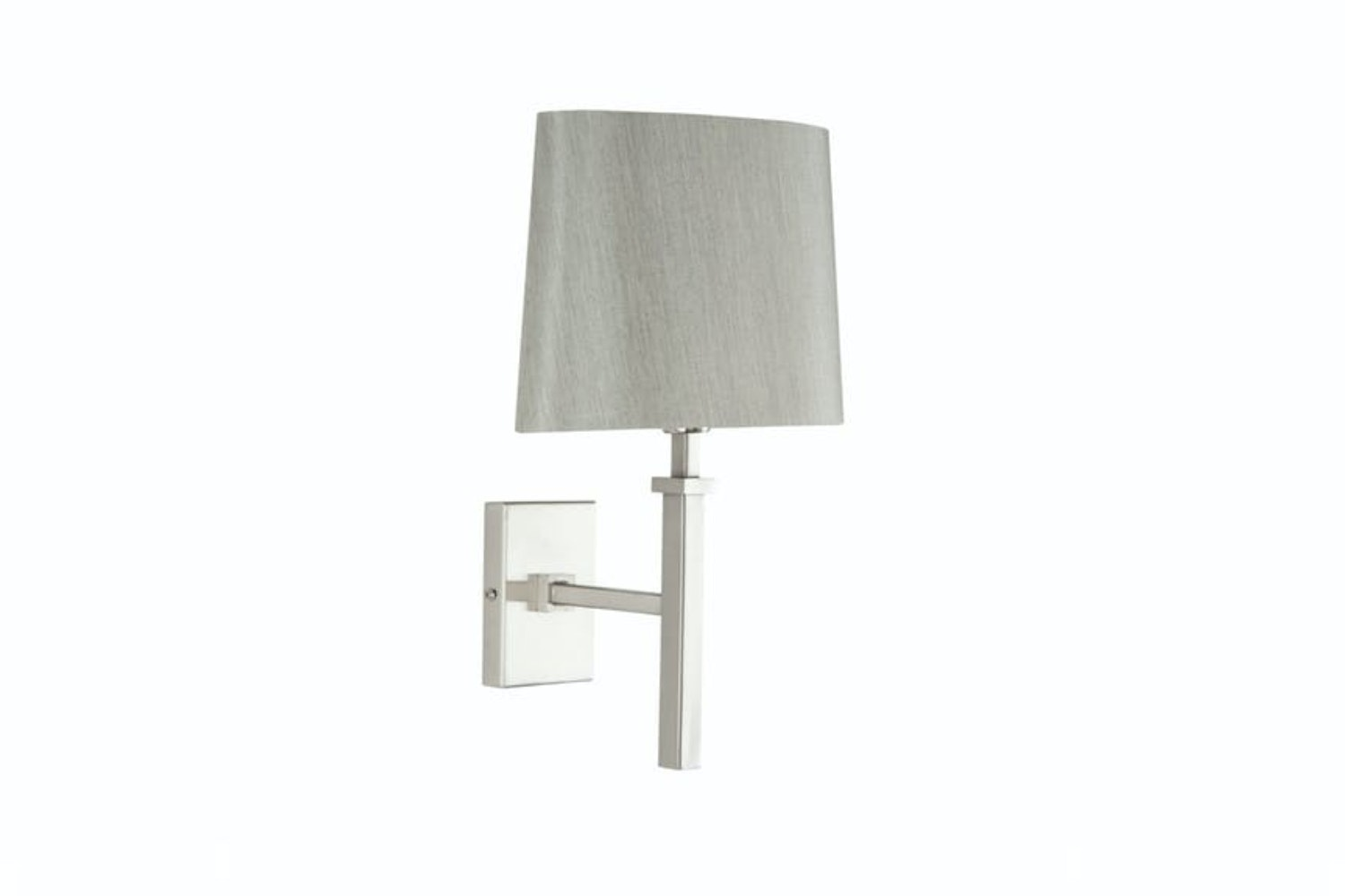 Satin Nickel Stick Wall Light And Grey Shade