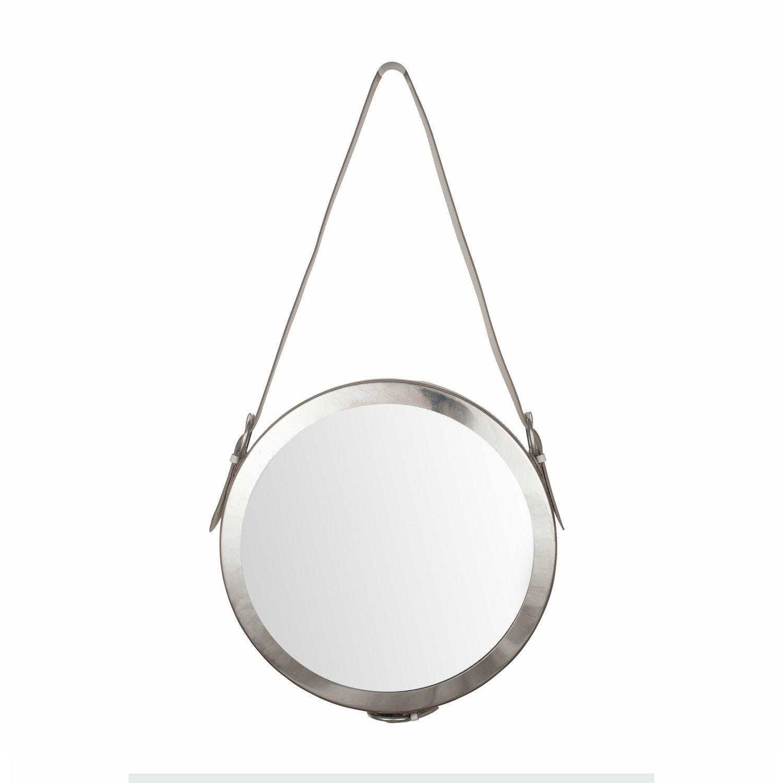 Shiny Nickel & White Leather Round Mirror