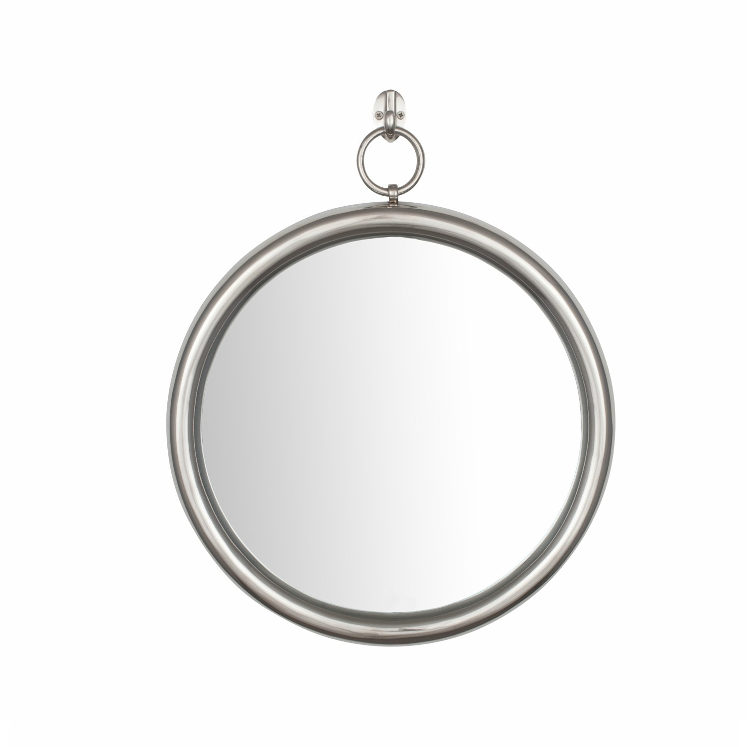 Shiny Nickel Aluminium & Glass Round Mirror