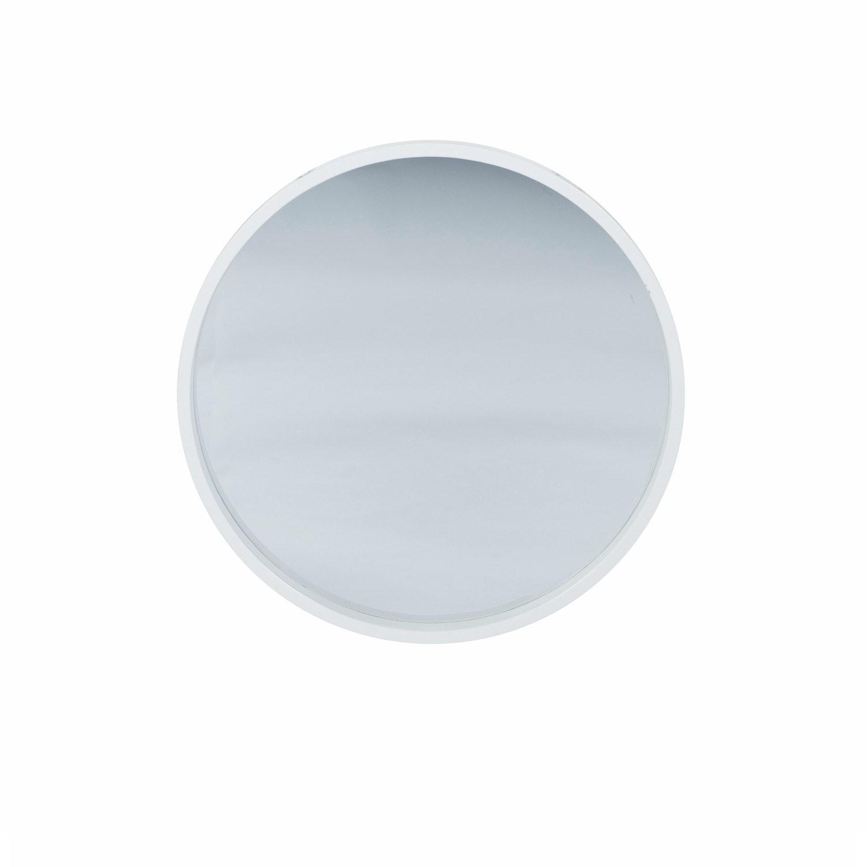 Glossy White Wood Round Mirror