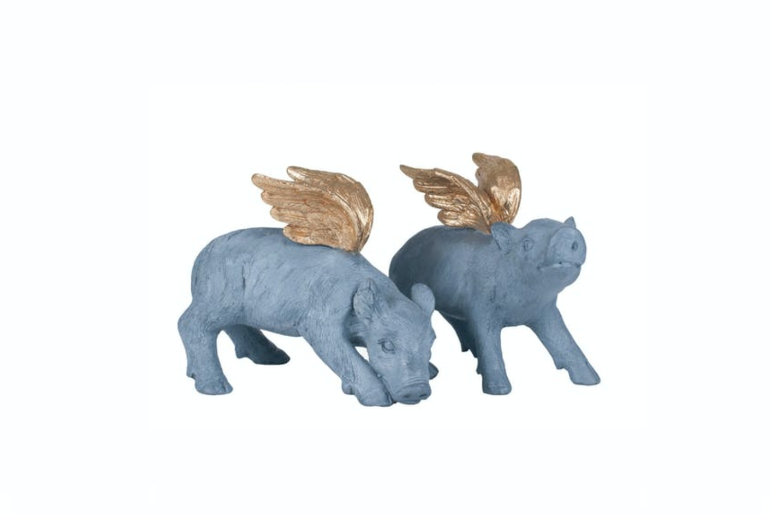 Set of 2 Winged Pigs | Grey & Gold