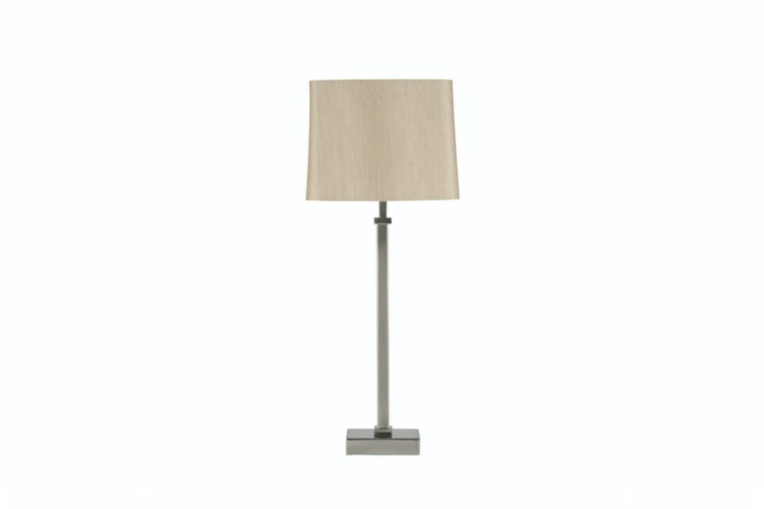 Satin Nickel Stick Table Light And Grey Shade