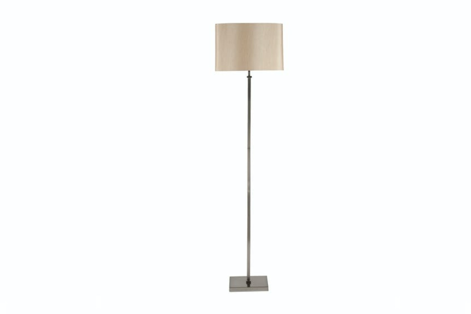 Satin Nickel Stick Floor Light And Grey Shade