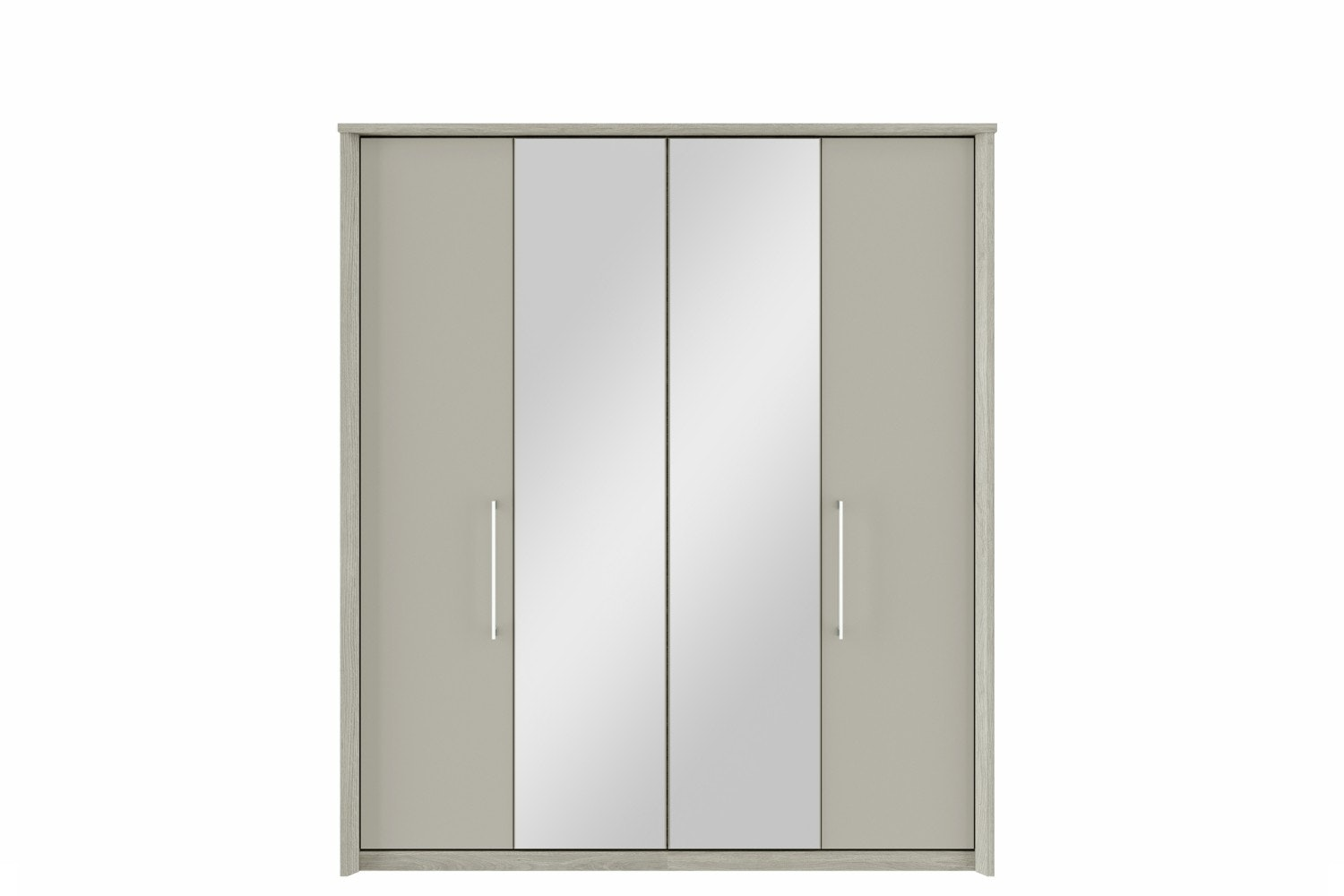 Presley Wardrobe | 4 Doors | Centre Mirror | Oak & Pale Grey