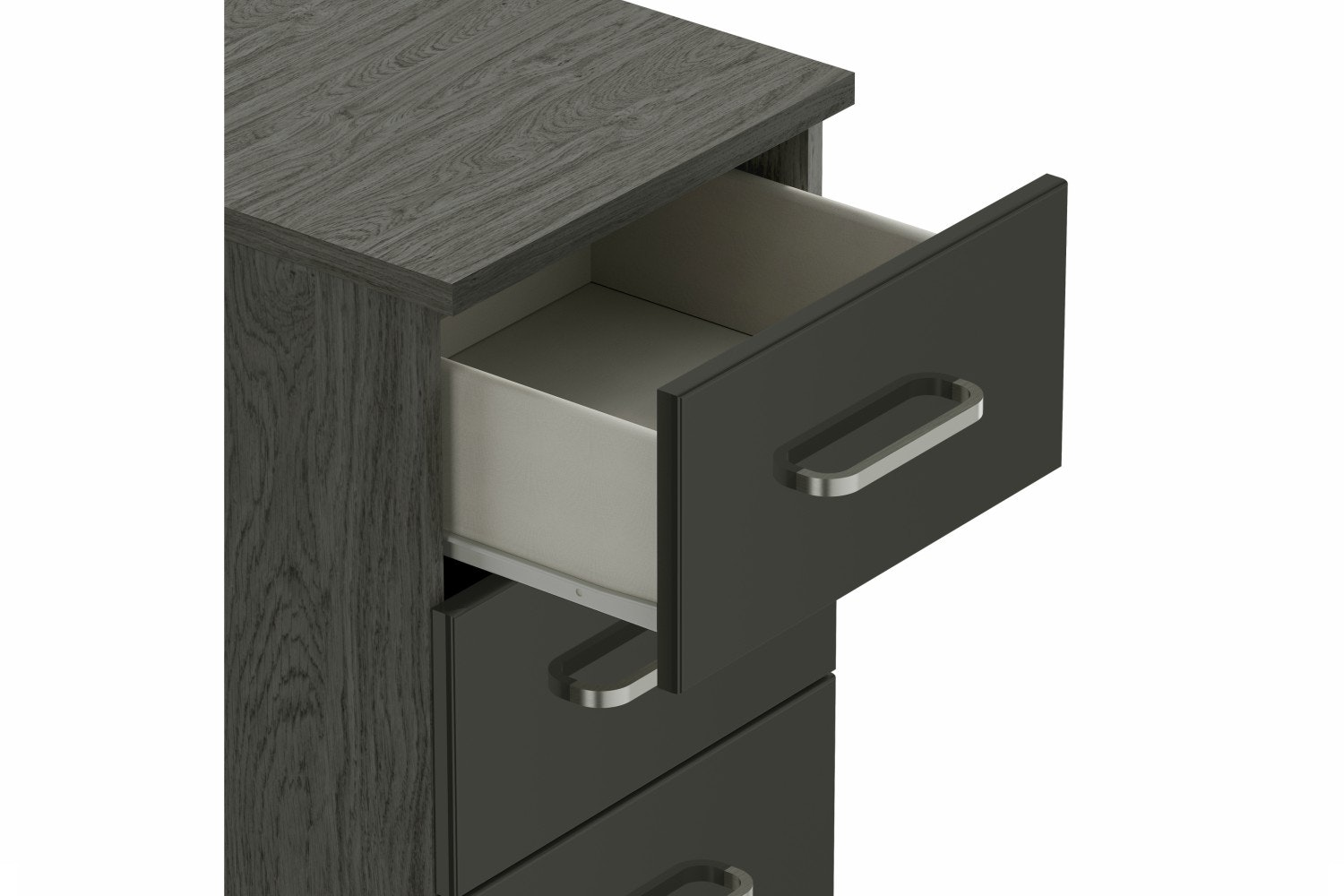 Gianna Bedside | 3 Drawers | Grey Oak & Grey Gloss