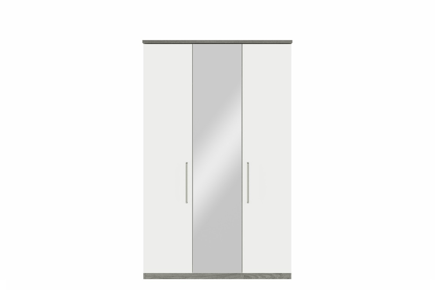 Gianna Wardrobe | 3 Doors | Centre Mirror | Grey Oak & White Gloss