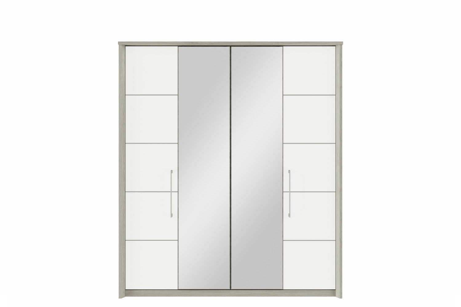 Niko Wardrobe | 4 Doors | Centre Mirror | Washed Oak/White