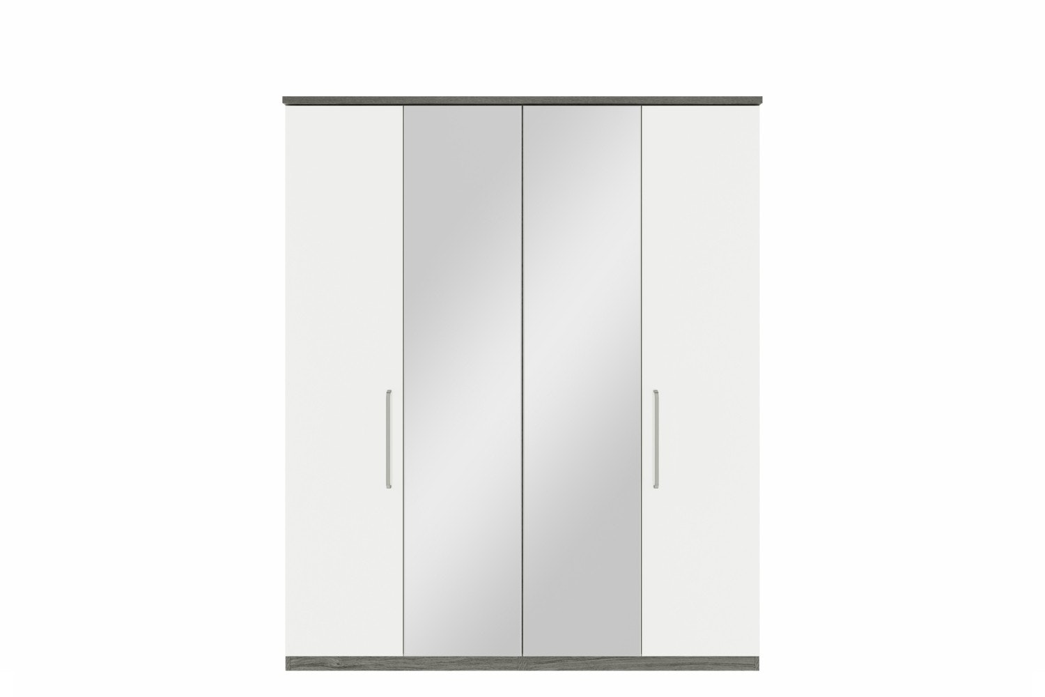Gianna Wardrobe | 4 Doors | Centre Mirror | Grey Oak & White Gloss