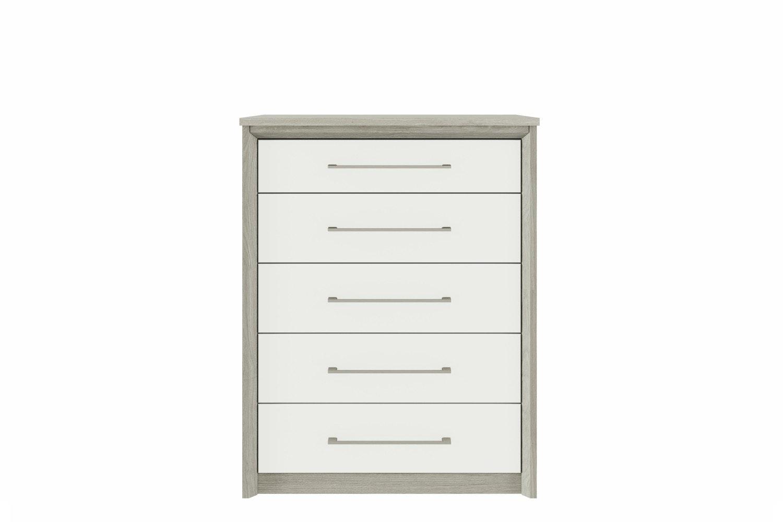 Niko Chest | 5 Drawers | Washed Oak/White