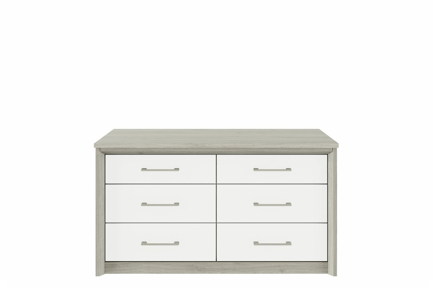Niko Chest | 6 Drawers | Washed Oak/White
